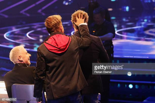 Dieter Bohlen and Oliver Geissen during the fourth event show and semi finals of the tv competition 'Deutschland sucht den Superstar' at Coloneum on...