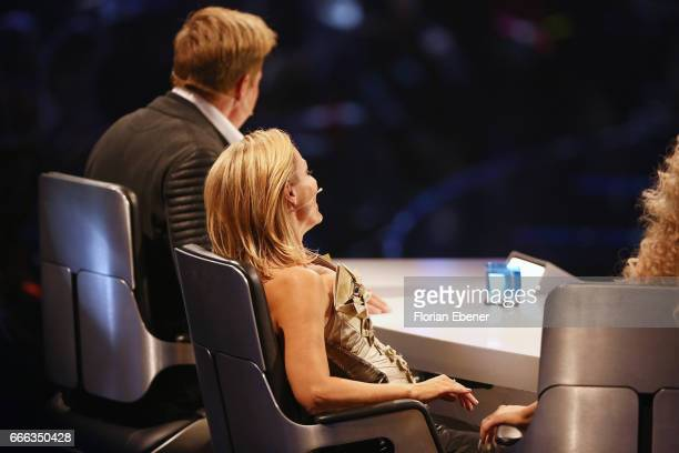 Dieter Bohlen and Tanja Hewer alias Michelle during the first event show of the tv competition 'Deutschland sucht den Superstar' at Coloneum on April...
