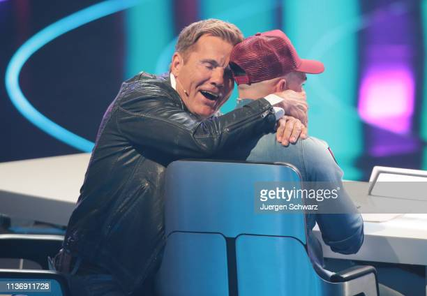 Dieter Bohlen hugs Pietro Lombardi during the second event show of the tv competition Deutschland sucht den Superstar at Coloneum on April 13 2019 in...