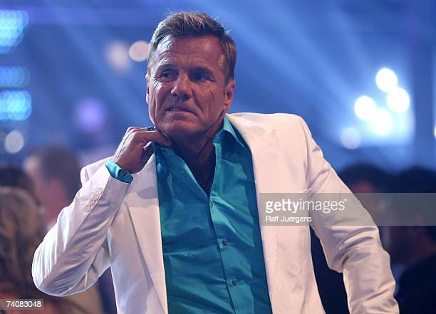 Dieter Bohlen reacts after Mark Medlock wins the singer qualifying contest DSDS Final show on May 05 2007 at the Coloneum in Cologne Germany