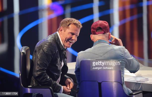 Dieter Bohlen talks to Pietro Lombardi during the second event show of the tv competition Deutschland sucht den Superstar at Coloneum on April 13...