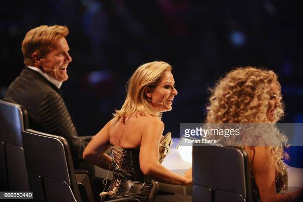 Dieter Bohlen Tanja Hewer alias Michelle and Shirin David during the first event show of the tv competition 'Deutschland sucht den Superstar' at...