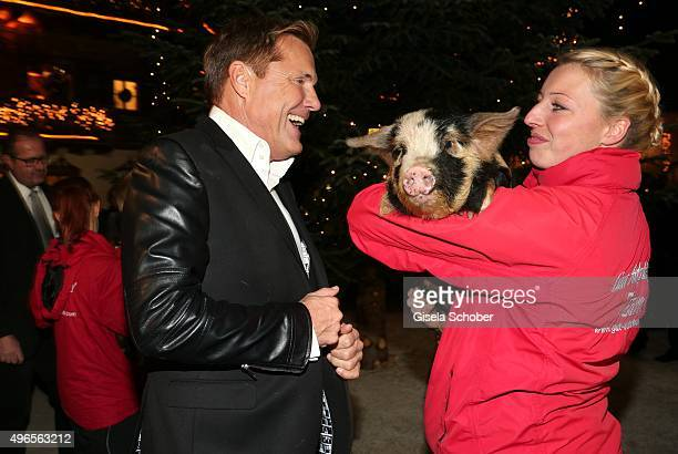Dieter Bohlen with a pig during the Gut Aiderbichl Christmas Market 2015 opening on November 10 2015 in Henndorf am Wallersee near Salzburg Austria