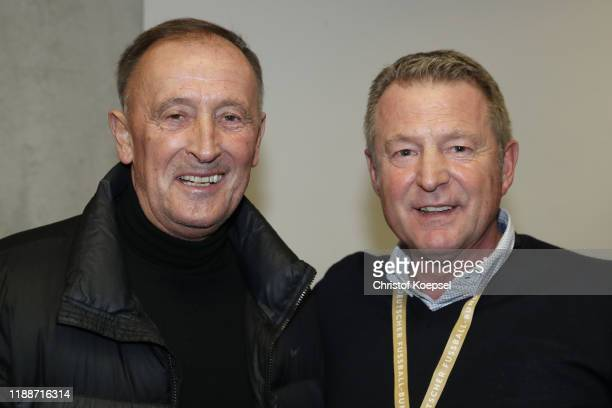 Dieter Burdenski and Karlheinz Foerster attend the Club Of Former National Players Meeting at Commerzbank Arena on November 19, 2019 in Frankfurt am...