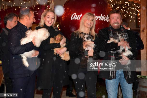 Dieter Ehrengruber Kathrin Glock Gena O'Kelley and actor Chuck Norris during the Gut Aiderbichl Christmas Market opening on November 12 2019 in...