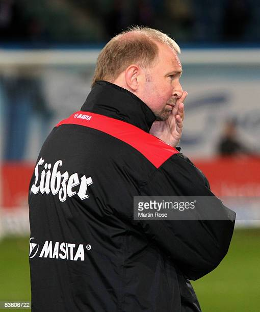 Dieter Eilts head coach of Rostock poses prior the Second Bundesliga match between FC Hansa Rostock and 1860 Muenchen at the DKB Arena on November 24...
