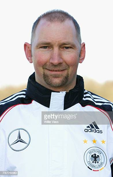 Dieter Eilts poses during the photo call of the Under 21 German National Team on February 6 2007 in Cumbernauld Scotland