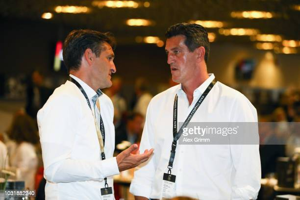 Dieter Frey and Jens Todt attend the Club Of Former National Players Meeting during the UEFA Nations League group A match between Germany and France...