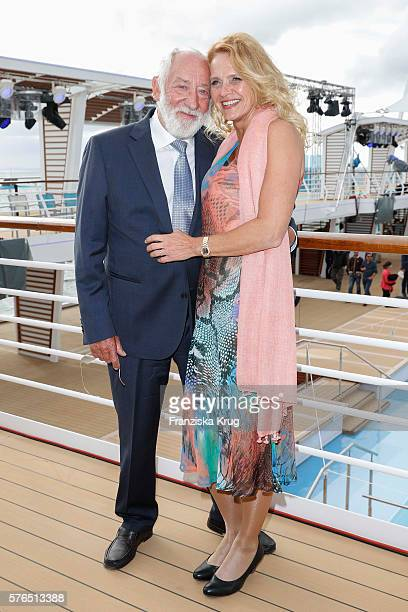 Dieter Hallervorden and Christiane Zander are seen during the baptism of the cruise ship 'Mein Schiff 5' on July 15 2016 in Kiel Germany