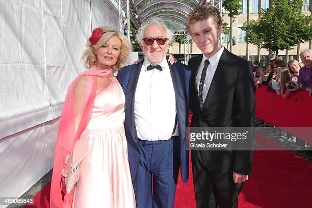 Dieter Hallervorden and Claudia Neidig and son Dieter jr attend the Lola German Film Award 2014 at Tempodrom on May 9 2014 in Berlin Germany