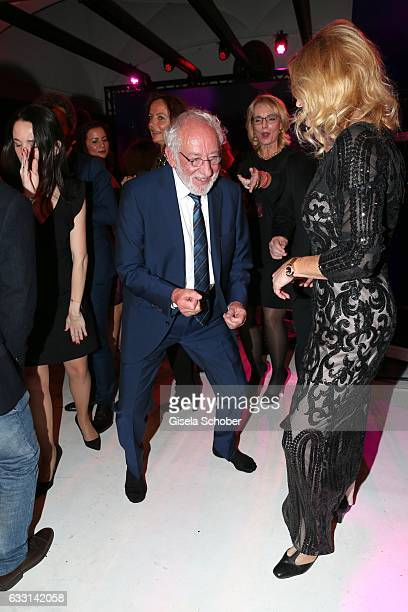 Dieter Hallervorden and his girlfriend Christiane Zander dance without shoes during the Lambertz Monday Night 2017 at Alter Wartesaal on January 30...