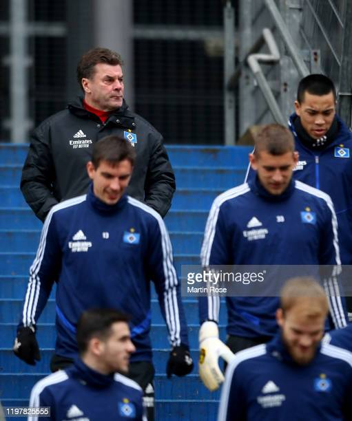 Dieter Hecking, head coach of Hamburger SV looks on during a training session at Volksparkstadion on January 06, 2020 in Hamburg, Germany.