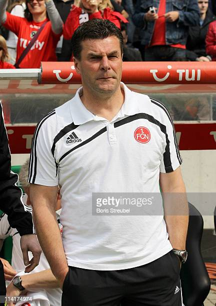 Dieter Hecking head coach of Nuernberg attends the Bundesliga match between Hannover 96 and 1 FC Nuernberg at AWD Arena on May 14 2011 in Hanover...