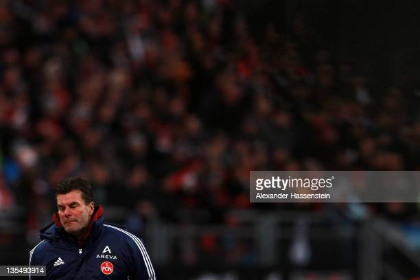 Dieter Hecking, head coach of Nuernberg looks on during the Bundesliga match between 1.FC Nuernberg and TSG 1899 Hoffenheim at Easy Credit Stadium on...