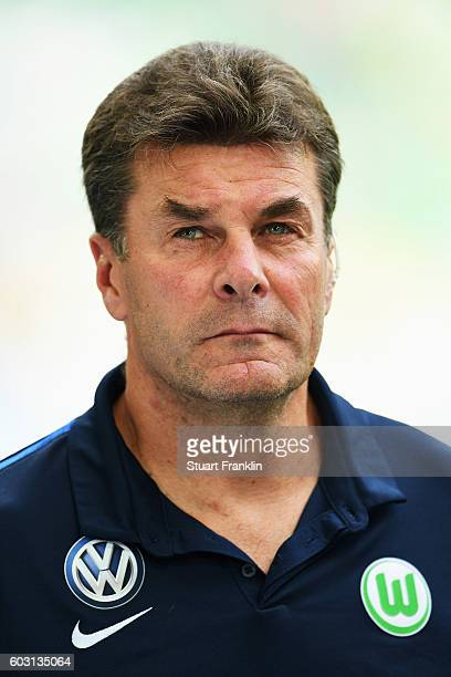 Dieter Hecking, head coach of Wolfsburg looks on during the Bundesliga match between VfL Wolfsburg and 1. FC Koeln at Volkswagen Arena on September...