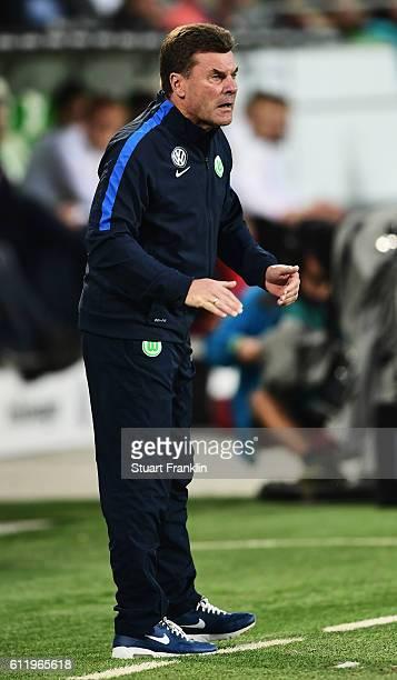 Dieter Hecking, head coach of Wolfsburg reacts during the Bundesliga match between VfL Wolfsburg and 1. FSV Mainz 05 at Volkswagen Arena on October...