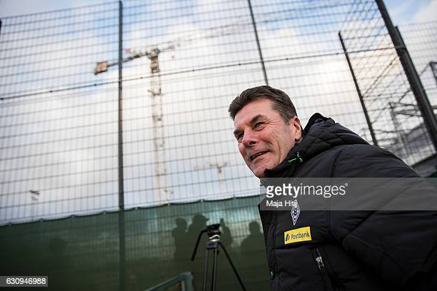 Dieter Hecking, the newly appointed head coach of Borussia Moenchengladbach arrives to a training session on January 4, 2017 in Moenchengladbach,...