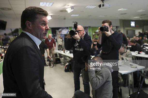Dieter Hecking, the newly appointed head coach of Borussia Moenchengladbach leaves after a press conference on January 4, 2017 in Moenchengladbach,...