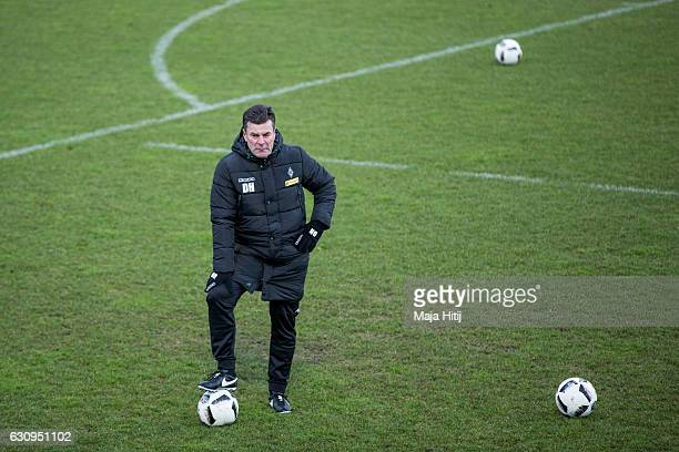 Dieter Hecking, the newly appointed head coach of Borussia Moenchengladbach looks on during a training session on January 4, 2017 in...