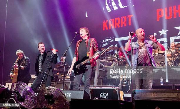 Dieter Hertrampf Claudius Dreilich Dieter Birr and Toni Krahl of the German bands Karat Puhdys and City perform live during the concert Rock Legends...