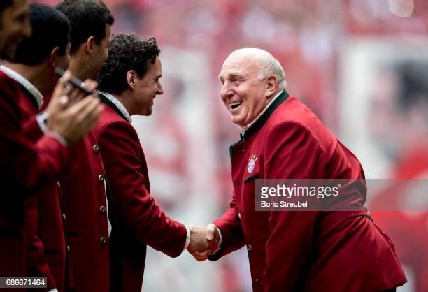 Dieter Hoeness former player of Bayern Muenchen is pictured prior to the Bundesliga match between Bayern Muenchen and SC Freiburg at Allianz Arena on...