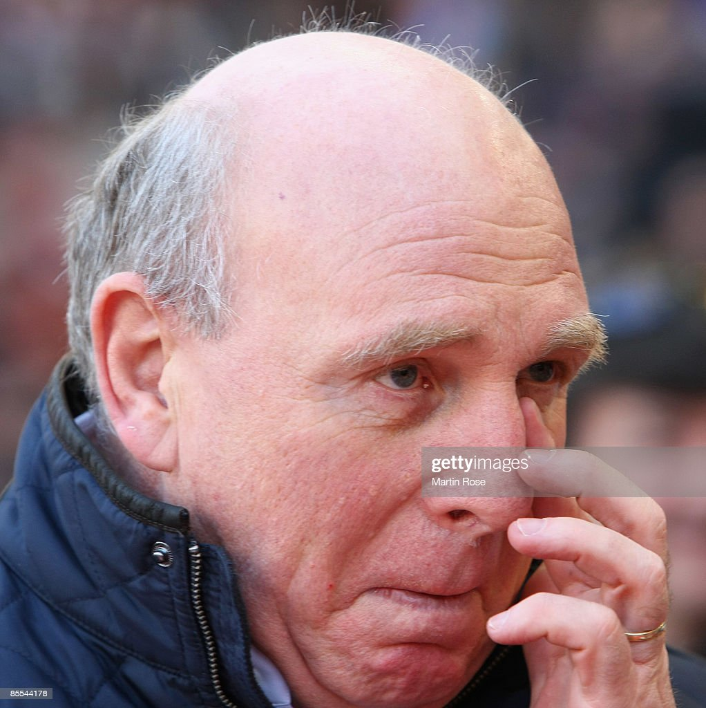 Dieter Hoeness, manager of Berlin is seen prior to the Bundesliga match between VfB Stuttgart and Hertha BSC Berlin at the Mercedes-Benz Arena on March 21, 2009 in Stuttgart, Germany.