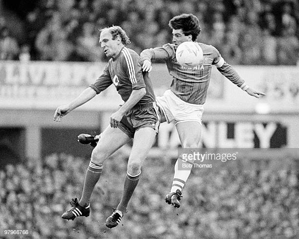 Dieter Hoeness of Bayern Munich jumps with Kevin Ratcliffe of Everton during the Everton v Bayern Munich European Cup Winners Cup Semi-Final 2nd leg...