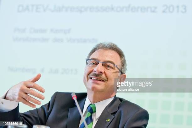 Dieter Kempf chairman of IT service provider Datev eG speaks during a press conference on the company's annual numbers in Nuremberg Germany 04 July...