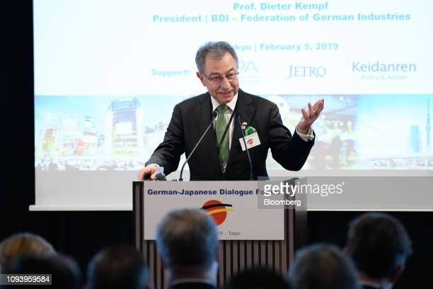 Dieter Kempf president of the Federation of German Industries speaks during the GermanJapanese Dialogue Forum in Tokyo Japan on Tuesday Feb 5 2019...