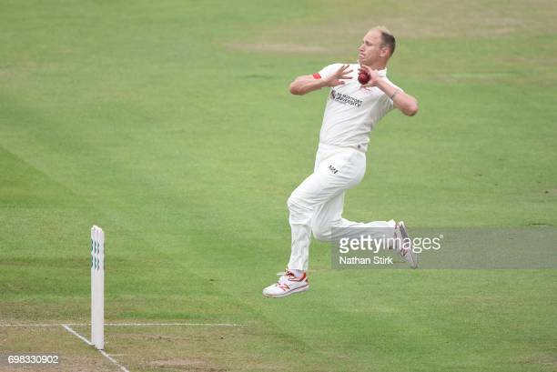 Dieter Klein of Leicestershire bowls during the Specsavers County Championship Division Two match between Nottinghamshire and Leicestershire at Trent...