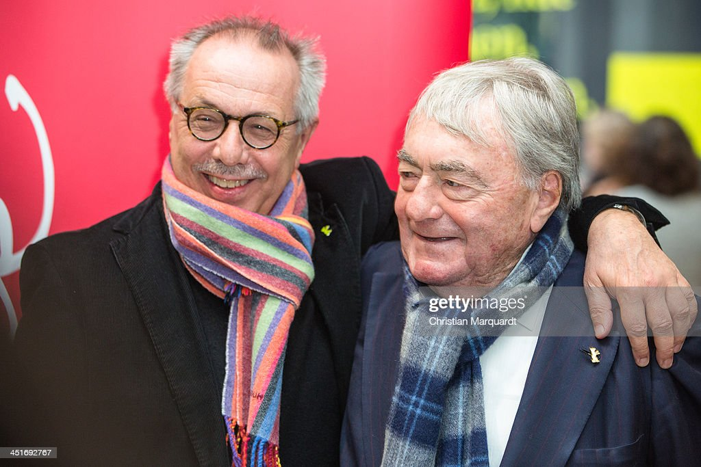 Dieter Kosslick and Claude Lanzmann and Rainer Rother pose during the 'Claude Lanzmann Photocall' on November 24, 2013 in Berlin, Germany.