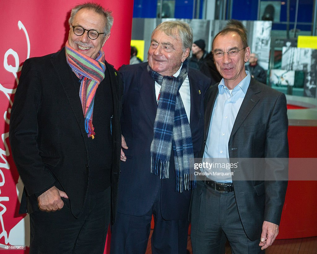 Dieter Kosslick, Claude Lanzmann and Rainer Rother pose during the 'Claude Lanzmann Photocall' on November 24, 2013 in Berlin, Germany.