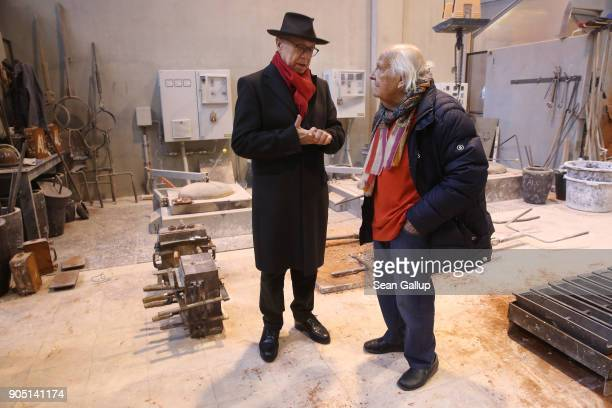 Dieter Kosslick Director of the Berlinale Berlin International Film Festival chats with Hermann Noack the 3rd who cast the first Berlinale bear...