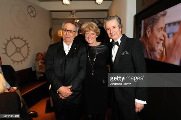 Dieter Kosslick, Monika Gruetters and CEO of Glashuette Original Thomas Meier are seen in the Golden Bear Lounge by Glashuette Original on February...