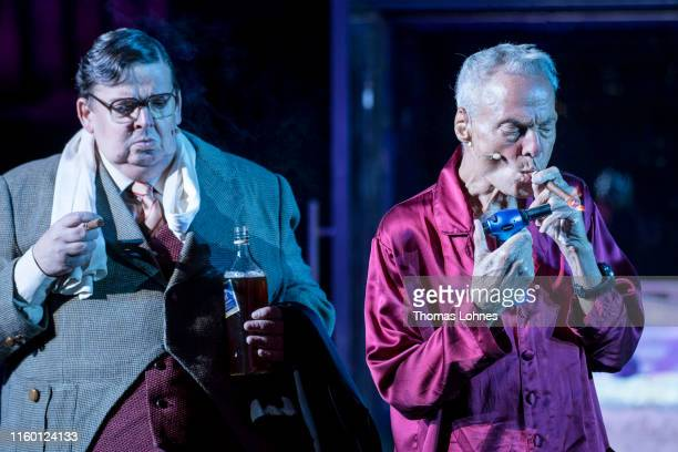 Dieter Laser as 'Advocate Huld' and Guenter Alt perform at the final rehearsal of Der Prozess during the 69 Bad Hersfelder Festspiele 2019 on July 04...