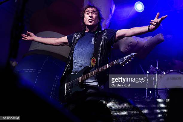 Dieter Mashine Birr singer and frontman of the Puhdys perfoms together with the band during their farewell tour on August 15 2015 in Halle Germany...