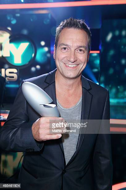 Dieter Nuhr poses with his award after the 19th Annual German Comedy Awards show at Coloneum on October 20 2015 in Cologne Germany