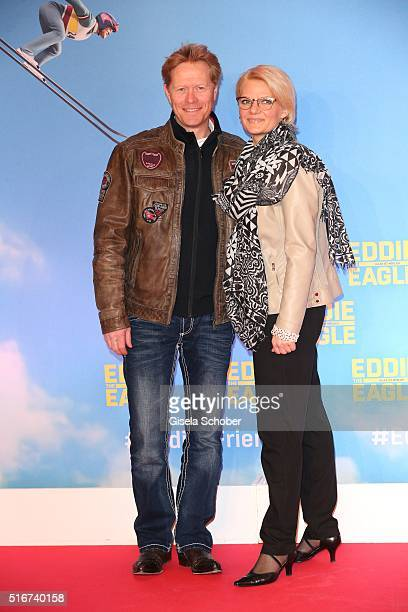 Dieter Thoma and his partner Mandana Daub during the 'Eddie the Eagle' premiere at Mathaeser Filmpalast on March 20 2016 in Munich Germany