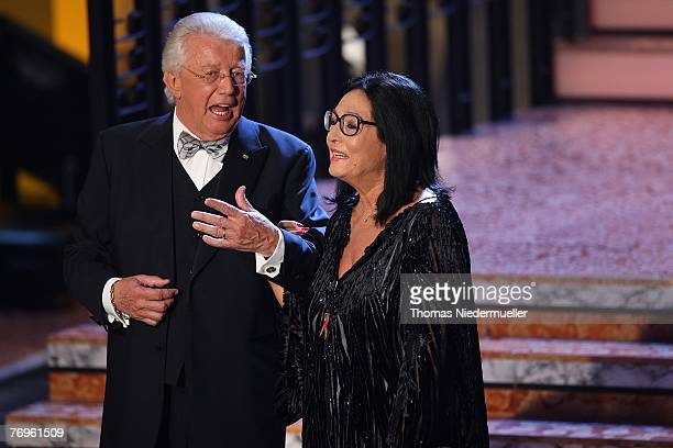 Dieter Thomas Heck talks to Nana Mouskouri during the recording of TV show 'Die goldene Stimmgabel 2007' presented by Dieter Thomas Heck in the...