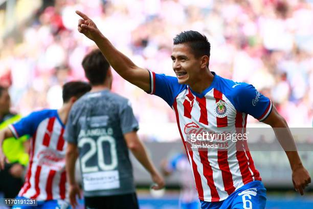 Dieter Villalpando of Chivas celebrates after scoring the first goal of his team during the 6th round match between Chivas and Necaxa as part of the...