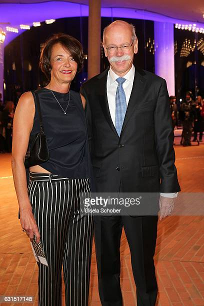 Dieter Zetsche CEO Daimler AG and his wife Anne Zetsche during the opening concert of the Elbphilharmonie concert hall on January 11 2017 in Hamburg...