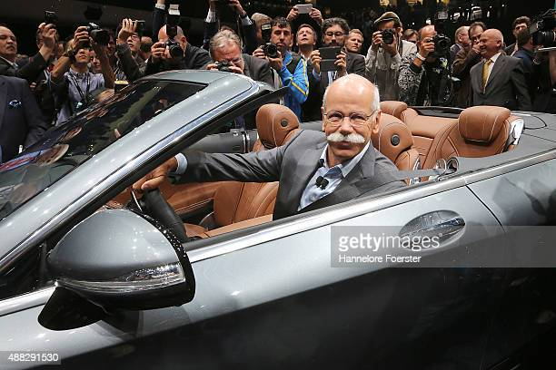 Dieter Zetsche CEO Mercedes presents the new Mercedes SClass Cabriolet at the Mercedes stand at the 2015 IAA Frankfurt Auto Show during a press day...