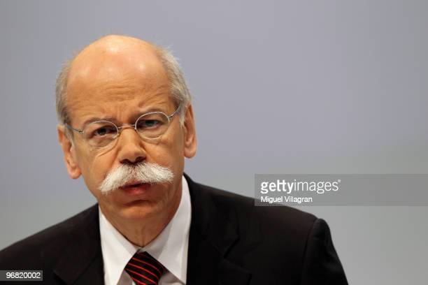 Dieter Zetsche CEO of Daimler AG addresses the audience during the company's annual press conference on February 18 2010 in Stuttgart Germany Daimler...