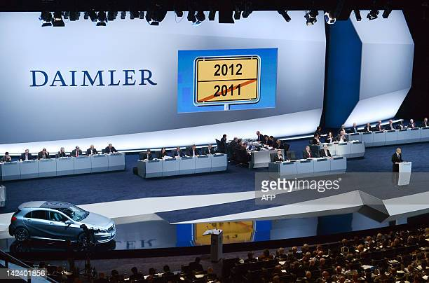 Dieter Zetsche chairman of German automaker Daimler addresses the shareholders during the Daimler AG's annual general meeting in Berlin on April 4...