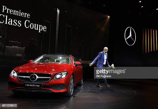 Dieter Zetsche Chairman of the Board of Directors of Daimler AG and Head of MercedesBenz Cars exits the new 2018 MercedesBenz EClass Coupe after...