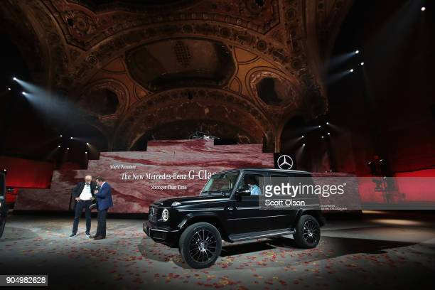 Dieter Zetsche chairman of the board of management of Daimler AG and former California Governor Arnold Schwarzenegger introduce the 2019 MercedesBenz...