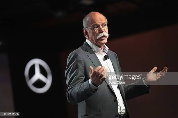 Dieter Zetsche chairman of the board of management of Daimler AG introduces the 2018 Mercedes GLA during a media preview before the start of the...