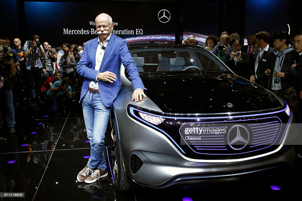 Dieter Zetsche, chief executive officer of Daimler AG poses after the presentation of a new Mercedes-Benz Generation EQ concept sport-utility vehicle (SUV) during the press day of the Paris Motor Show on September 29, 2016, in Paris, France. The Paris Motor Show will showcase the latest models from the auto industry's leading manufacturers at the Paris Expo exhibition centre.