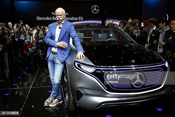 Dieter Zetsche chief executive officer of Daimler AG poses after the presentation of a new MercedesBenz Generation EQ concept sportutility vehicle...