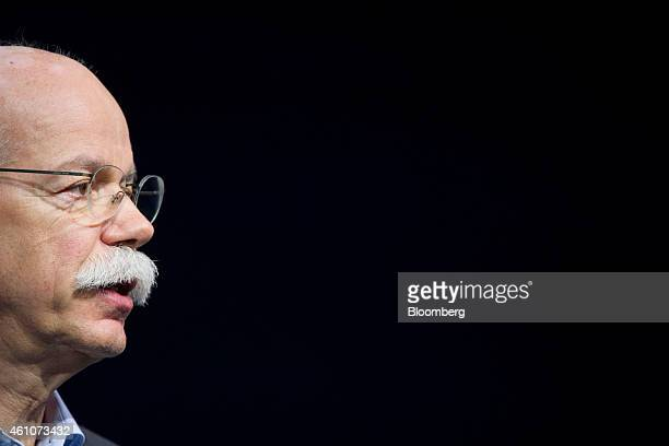 Dieter Zetsche chief executive officer of Daimler AG speaks at a news conference during the 2015 Consumer Electronics Show in Las Vegas Nevada US on...